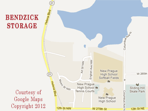 Bendzick Mini Storage is Located at 26370 Helena Blvd just north of New Prague, MN , south of county road 2 on Minnesota state highway 21. Call 507-334-3422.